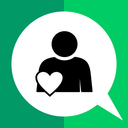 liking: Person with heart symbol. Involvement, engagement, participation. Involvement concept. Can be used for topics like network, business, work Illustration