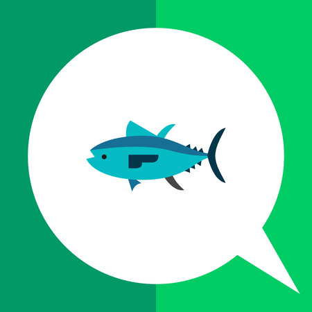 Multicolored vector icon of isolated tuna, side view Illustration