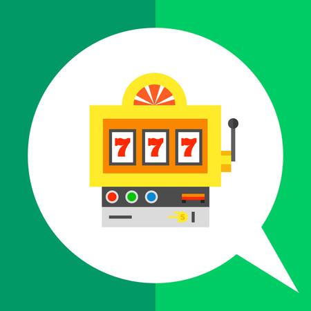 combination: Multicolored vector icon of slot machine with lucky seven winning combination