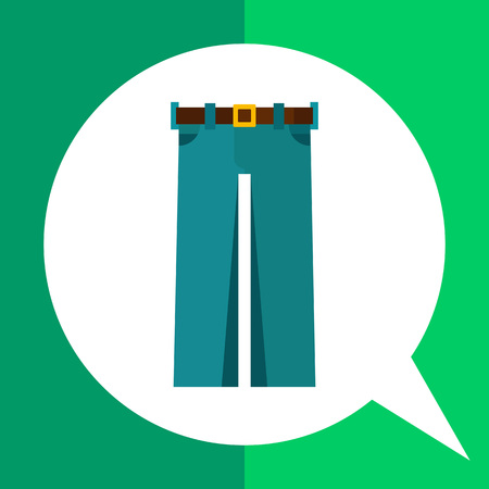 Multicolored vector icon of straight jeans with brown belt and buckle