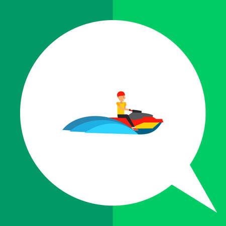 personal watercraft: Multicolored flat icon of man riding jet ski watercraft