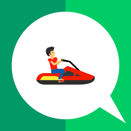 Multicolored vector icon of jet ski with driver sitting on it