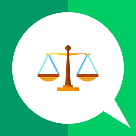 Multicolored vector icon of justice weighing scales