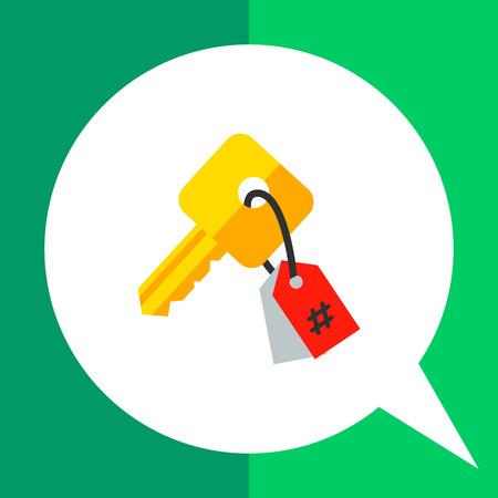 keyword research: Keywording vector icon. Multicolored illustration of key with tag symbolizing keyword Illustration