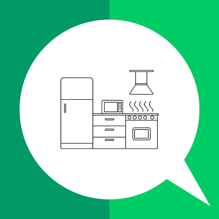 piece of furniture: Kitchen vector icon. Line illustration of fridge, gas stove and microwave oven in kitchen