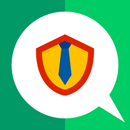 Multicolored vector icon of tie on shield representing lawyer concept Illustration
