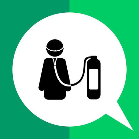 support de vie simple icône. Vector illustration de la respiration de personnage féminin avec l'aide de l'unité de respiration artificielle Vecteurs