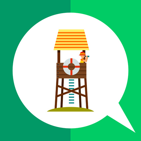 Lifeguard tower on beach icon. Multicolored vector illustration of lifeguard tower with beach-rescuer watching binoculars
