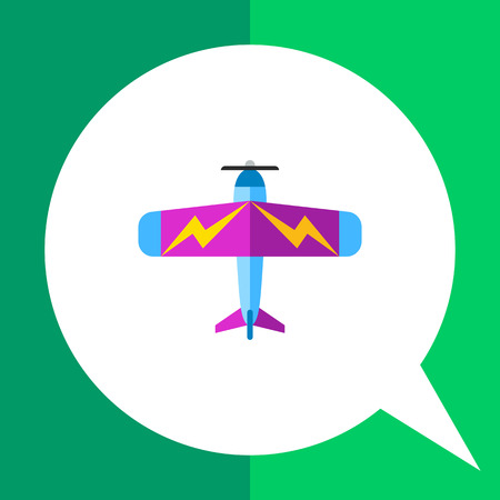 Multicolored vector icon of colorful light plane with lightning pictures on its wings, top view Illustration
