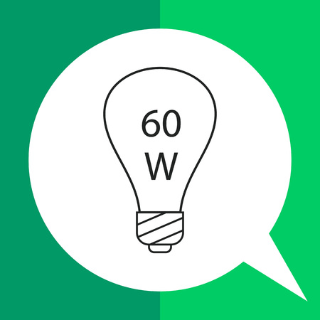 Line icon of lightbulb with 60W power sign inside
