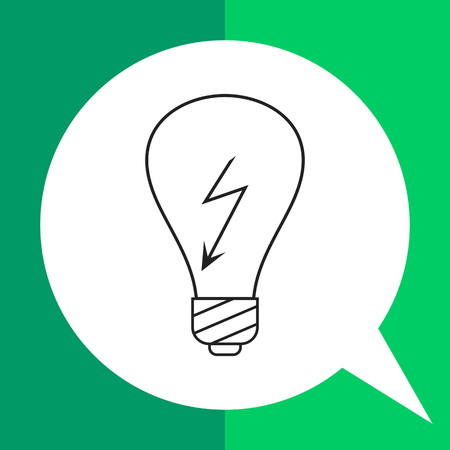 voltage sign: Line icon of lightbulb with high voltage sign inside