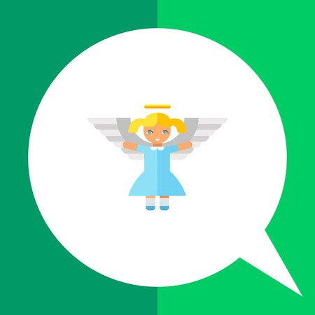 Icon of cute little blonde angel girl in blue dress with white wings and golden nimbus Illustration