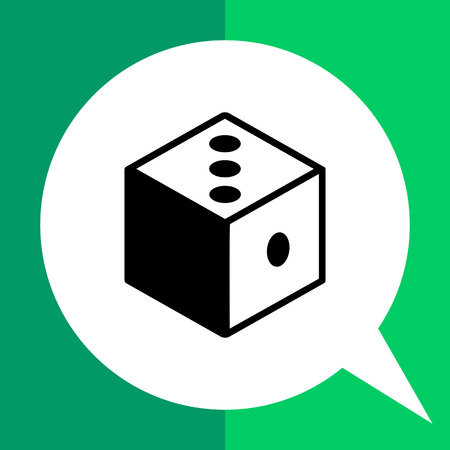 antithesis: Monochrome vector icon of 3d dice representing logic concept