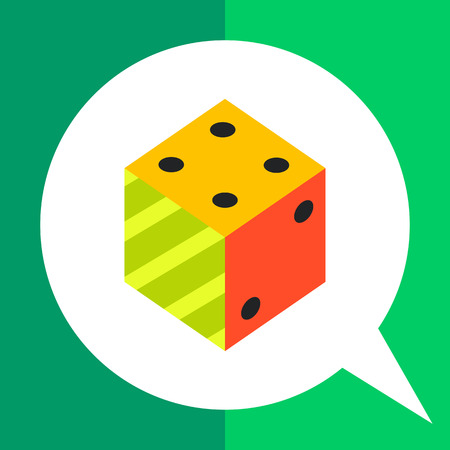 Multicolored vector icon of 3d dice representing logic concept