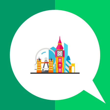 moveable: London icon. Multicolored vector illustration of London attractions