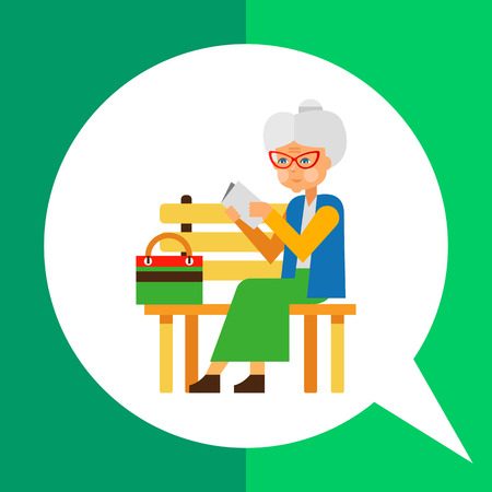 Loneliness flat icon. Multicolored illustration of elderly woman sitting alone in park Illustration