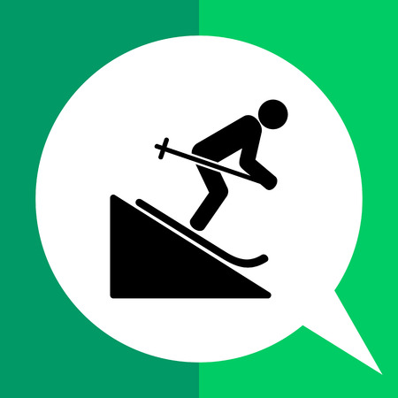 Man skiing downhill. Fun, leisure, mountain. Skiing concept. Can be used for topics like sport, lifestyle, travel. Illustration