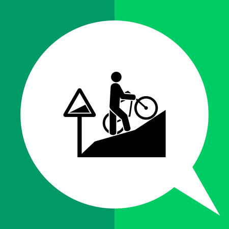 uphill: Man walking uphill and pushing bicycle. Tired, difficult, steep. Uphill concept. Can be used for topics like sport, lifestyle, bicycling. Illustration