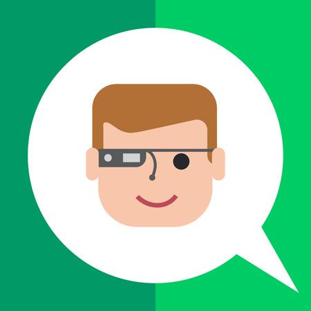 Vector icon of man wearing smart glasses Illustration