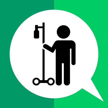 intravenous: Icon of man silhouette with drip bulb on stand