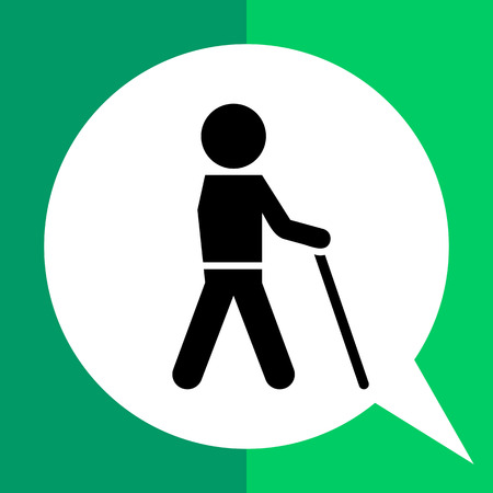 Icon of man silhouette walking with stick