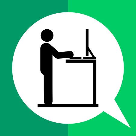 simplicidad: Hombre que trabaja en el ordenador en el escritorio de pie. Lugar de trabajo, creativo, oficina. Soportar el concepto de trabajo. Puede ser utilizado para temas como negocios, administración, ergonomía.