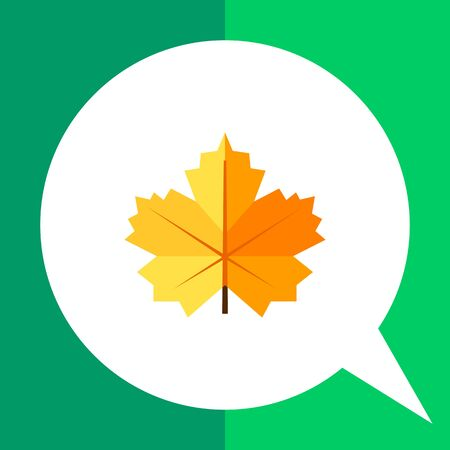 Multicolored vector icon of maple yellow leaf