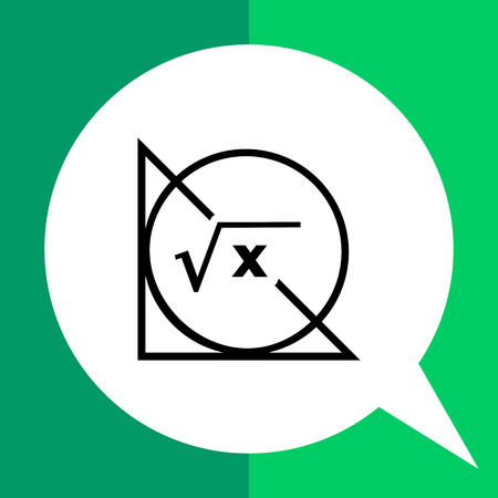 Monochrome vector icon of circle, triangle and math formula