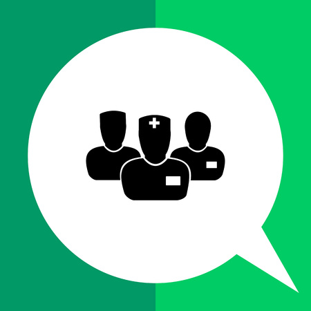 commissione medica semplice icona. Illustrazione vettoriale di tre personaggi maschili che rappresenta commissione medica