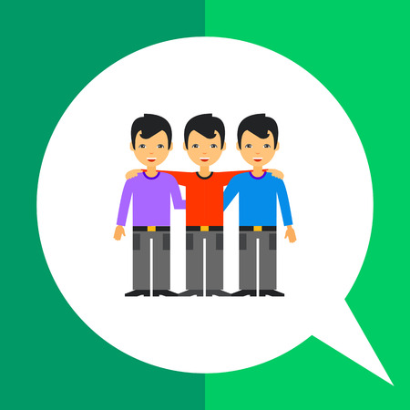 Three embracing and smiling men. Friendship, unity, partnership. Team collaboration concept. Can be used for topics like business, management, relationships. Illustration