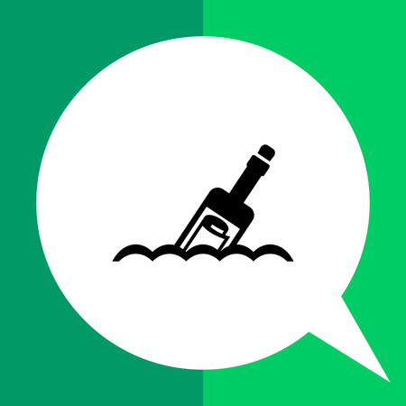 message in a bottle: Vector icon of scroll message in bottle floating on waves