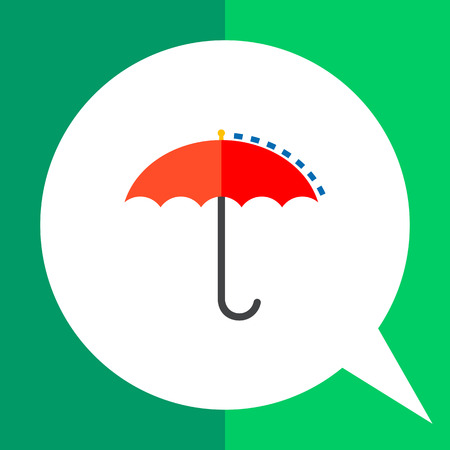 red umbrella: Multicolored vector icon of red umbrella with dot line of precipitations representing meteorology concept