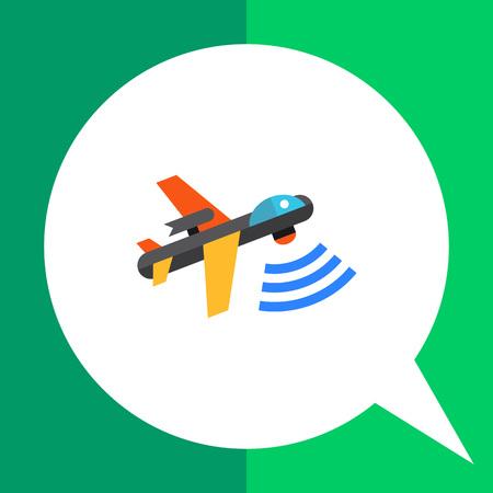 militant: Multicolored flat vector icon of combat aerial military drone Illustration