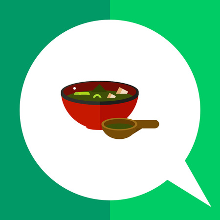 soup spoon: Image of Japanese green miso soup in red bowl with full wooden spoon beside