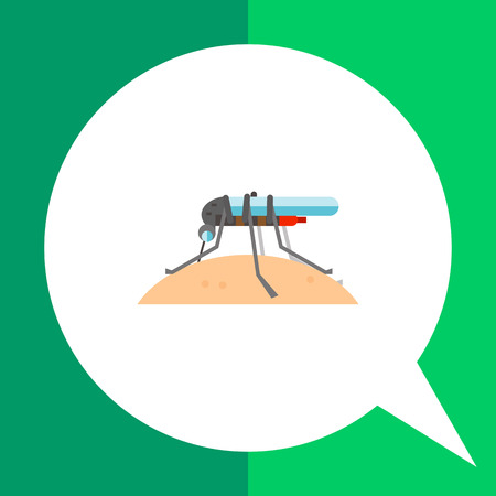 proboscis: Mosquito sucking blood icon. Multicolored vector illustration of mosquito in profile sucking human blood