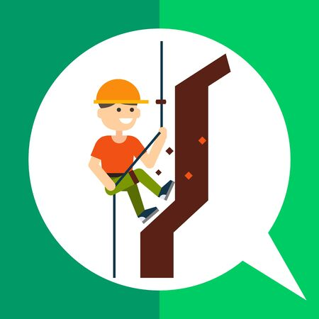 mountaineer: Multicolored vector icon of smiling climbing mountaineer