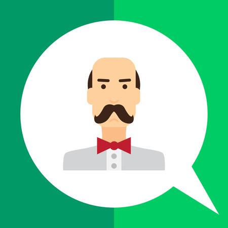 balding: Male character icon, portrait of balding man wearing moustache