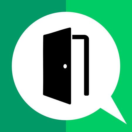knob: Monochrome vector icon of open door with knob