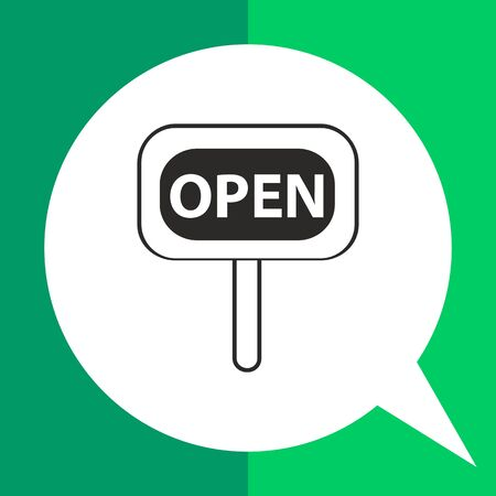 selling service: Icon of open sign Illustration