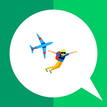 Multicolored flat icon of parachutist having jumped from airplane Illustration