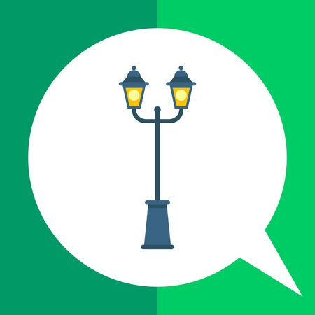 lamp post: Multicolored vector icon of two lights park lamp post Illustration