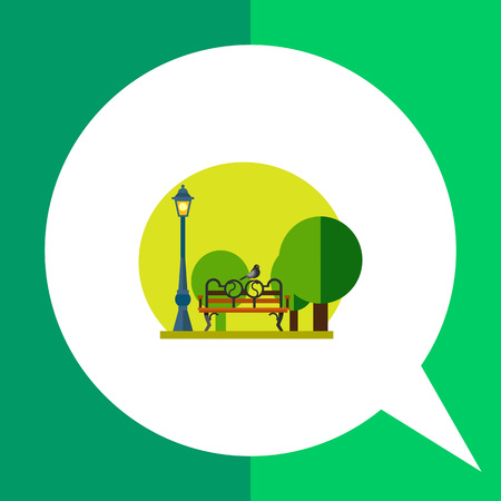 Multicolored vector icon of park with lamp, trees, bench and bird sitting on it, green round background