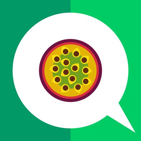 passion  ecology: Vector icon of cut passion fruit half Illustration