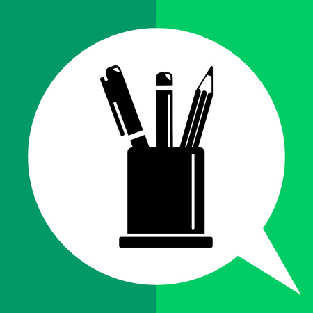 Monochrome vector icon of two pencils and pen in pencil stand Illustration