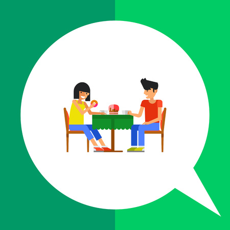 cafeteria: Icon of two people drinking coffee in cafeteria at table with green napkin
