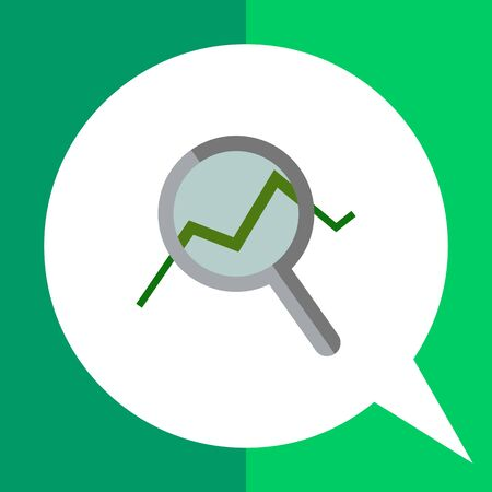 Icon of magnifying glass with graph