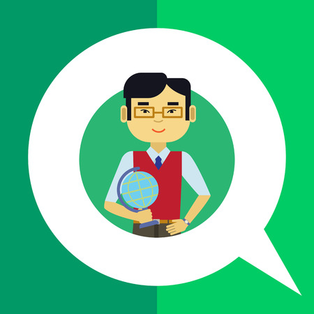 Male character, portrait of young Asian male teacher holding Earth globe