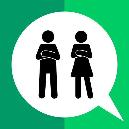 and two friends: Man and woman standing with crossed arms. Unhappy, angry, distance. Man and woman concept. Can be used for topics like friendship, social science, psychology.