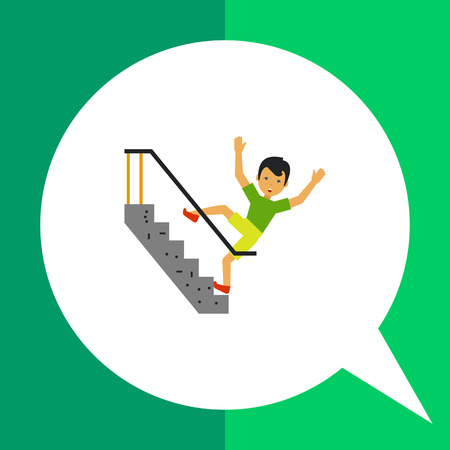 man falling: Multicolored vector icon of scared man falling on stairs