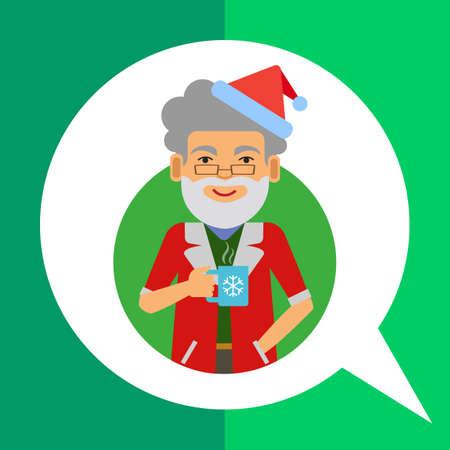 santa costume: Male character, portrait of smiling man wearing Santa costume and fake beard, holding mug Illustration